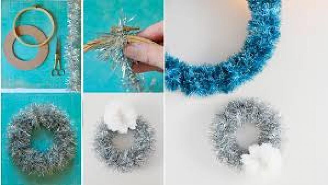 Новогодние венки своими руками из мишуры мастер класс