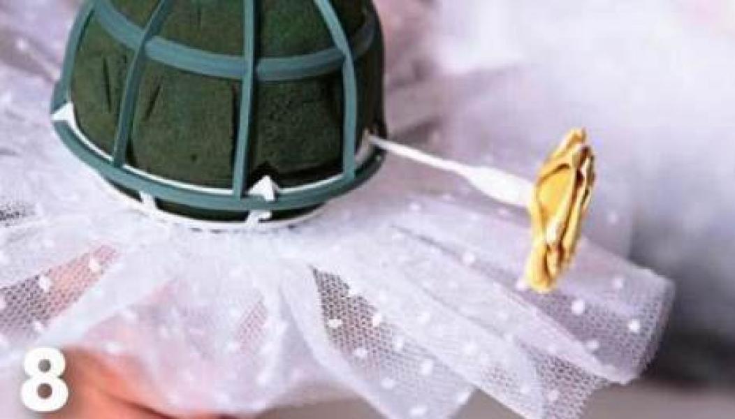 Как сделать юбку на свадебный букет