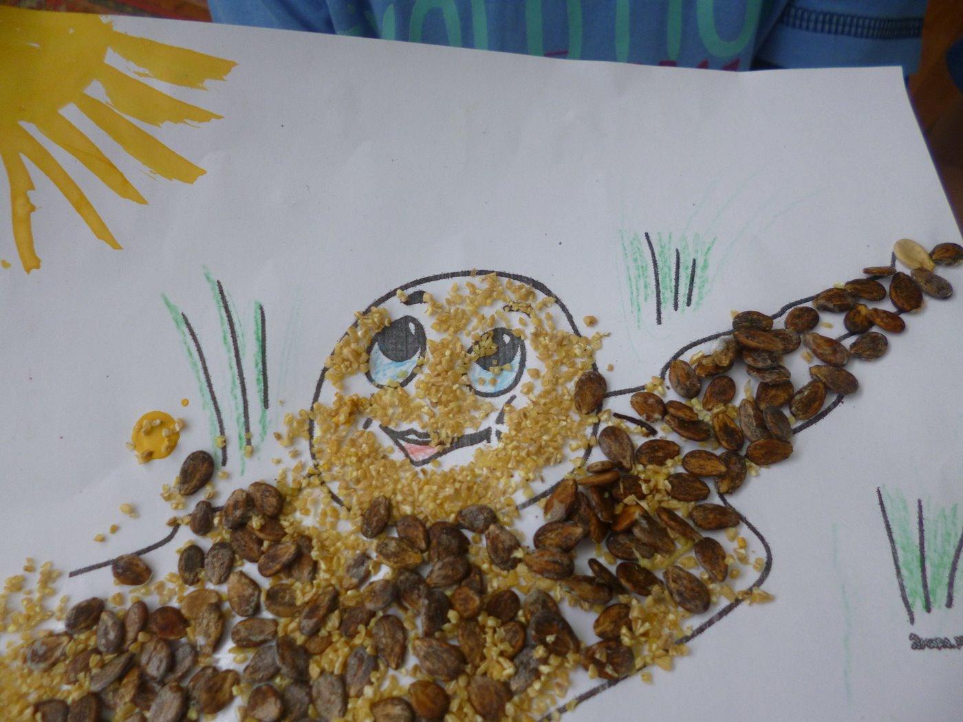 Аппликации и поделки из семян и круп 90 фотографий - Pinterest 68